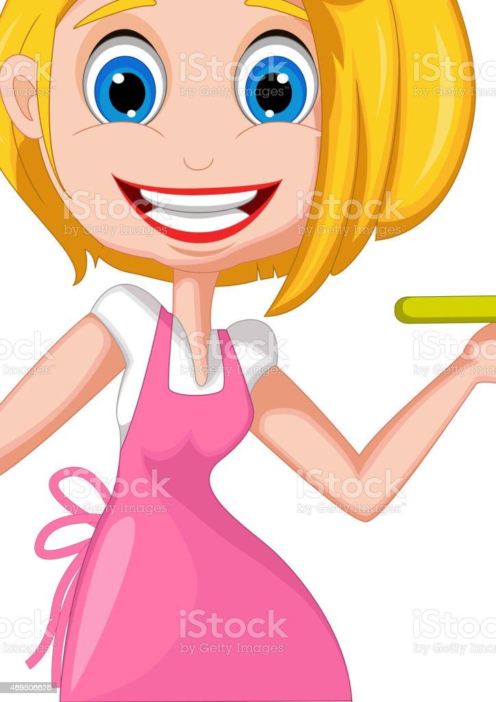 cartoon woman cooking vector art illustration
