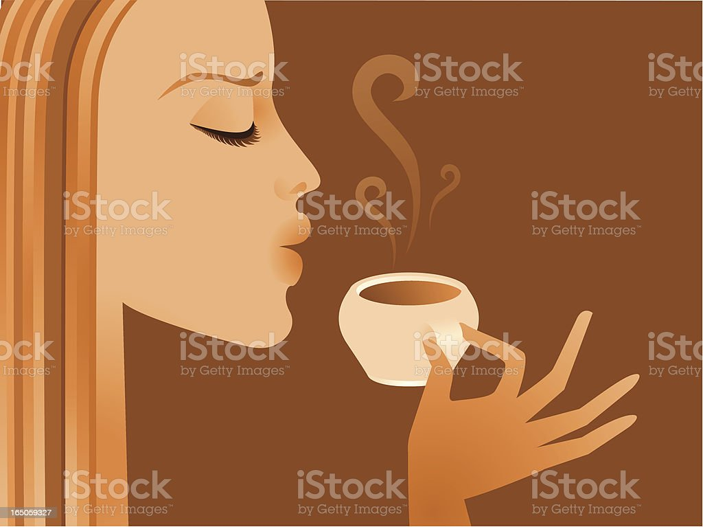 Cartoon woman enjoying her morning coffee on brown backing royalty-free stock vector art