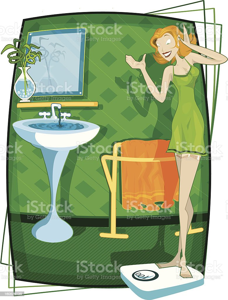 Cartoon Woman Happy and Looking at Weight Scale in Bathroom royalty-free stock vector art