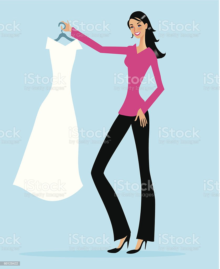Cartoon Woman Holding Dress on White Hanger royalty-free stock vector art