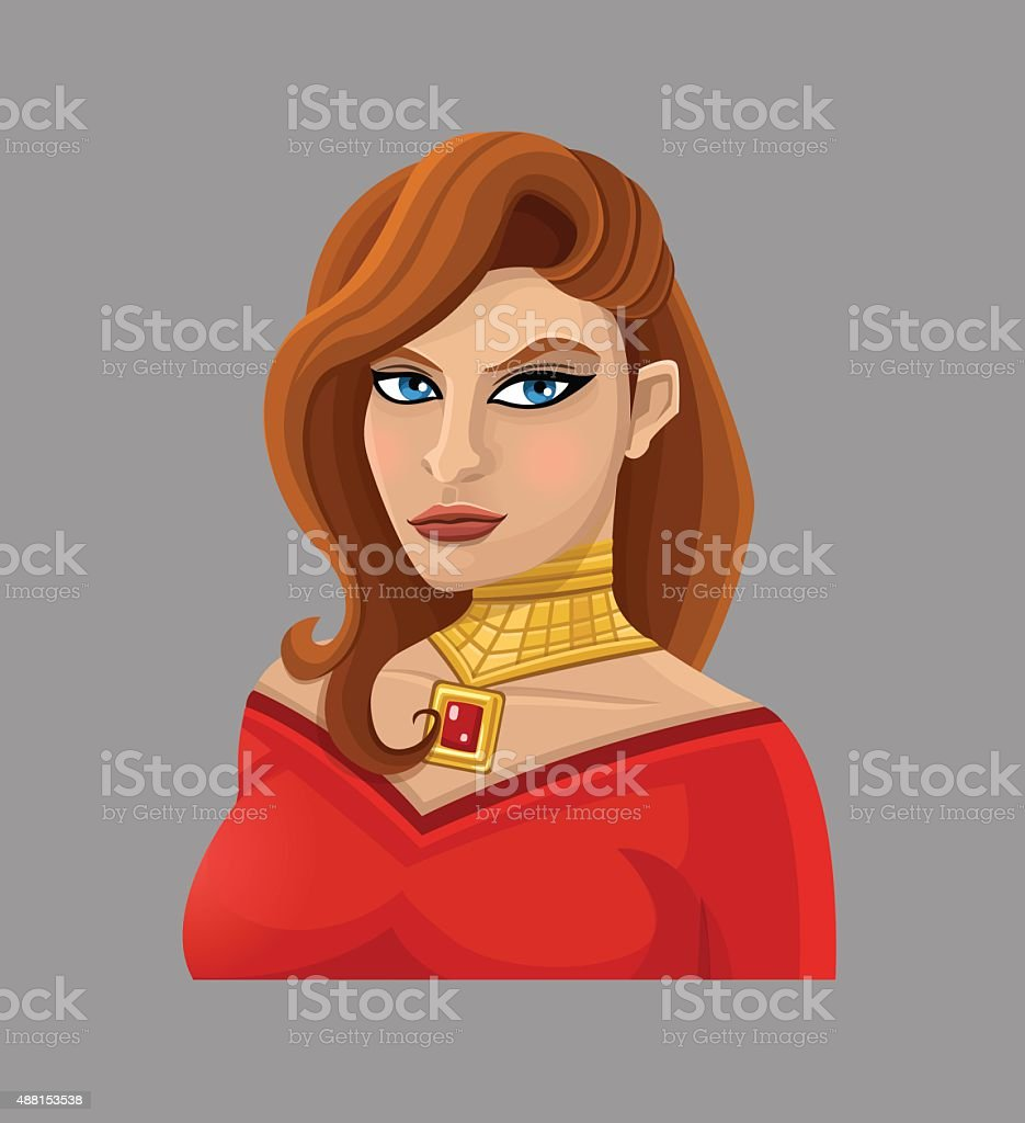 Мультяшная женщина в красный векторная иллюстрация