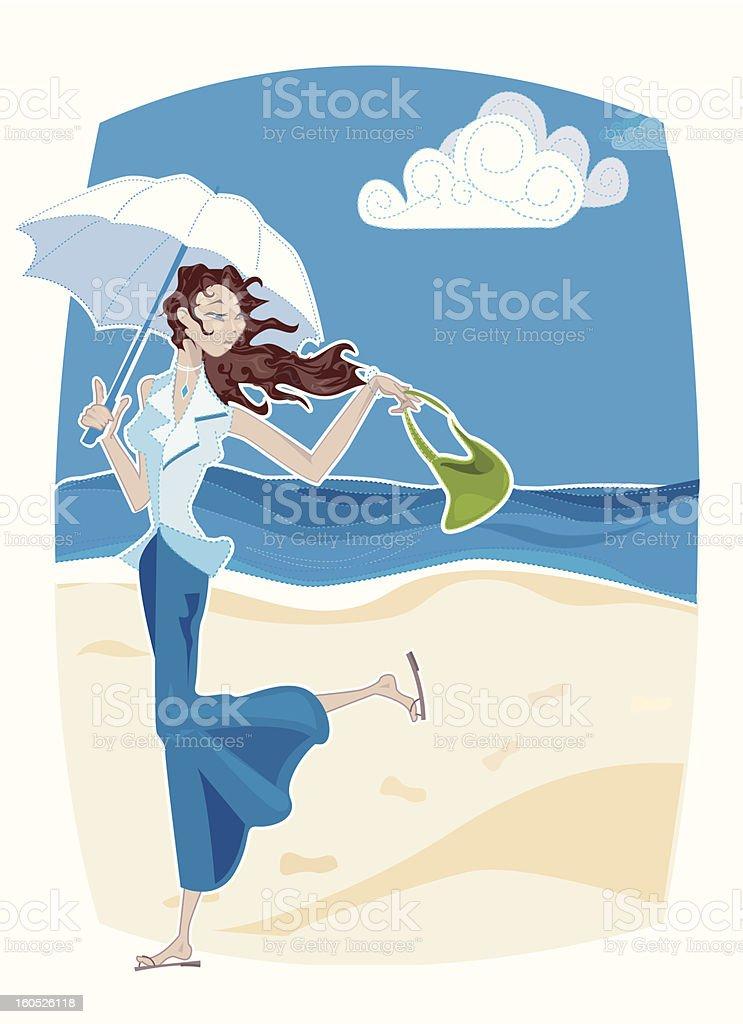 Cartoon Woman on Windy Beach Holding Umbrella royalty-free stock vector art