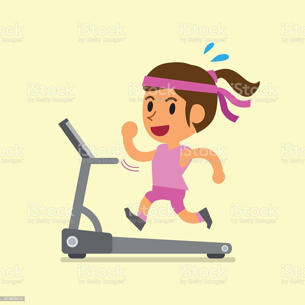 Cartoon woman running on treadmill vector art illustration