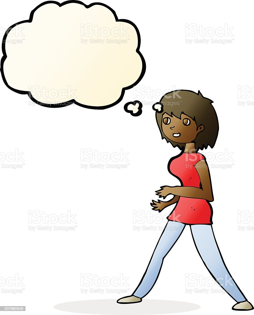 cartoon woman walking with thought bubble vector art illustration