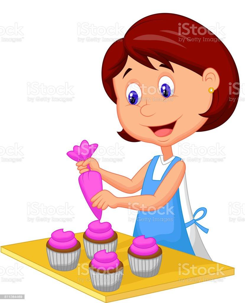 Cartoon woman with apron decorating cupcakes vector art illustration