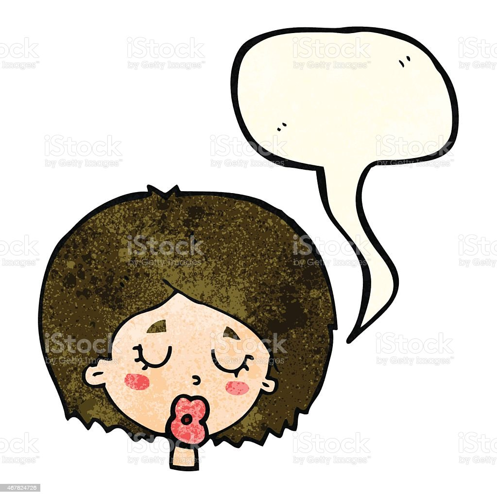 cartoon woman with eyes closed with speech bubble vector art illustration