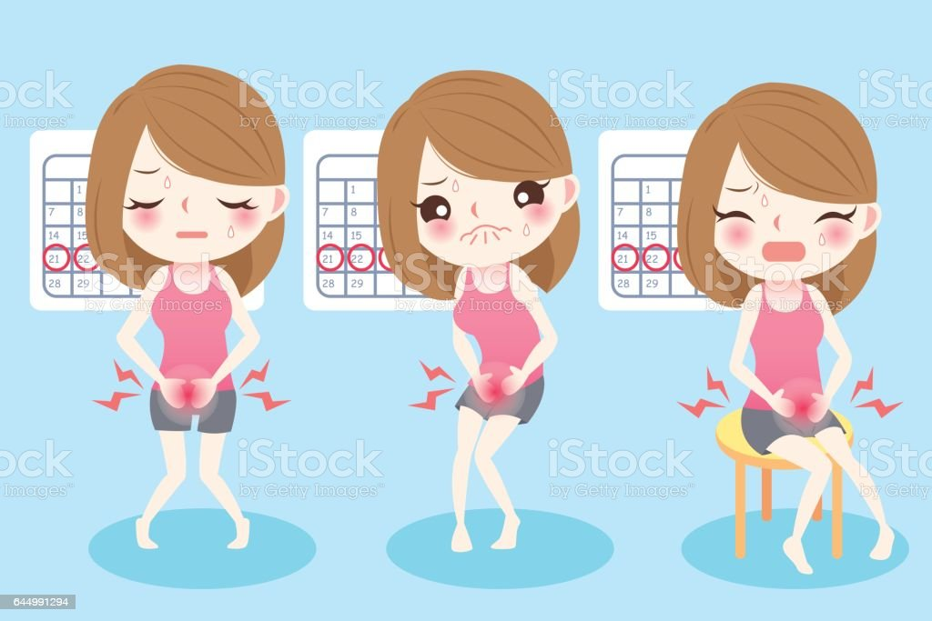 cartoon woman with menstruation vector art illustration
