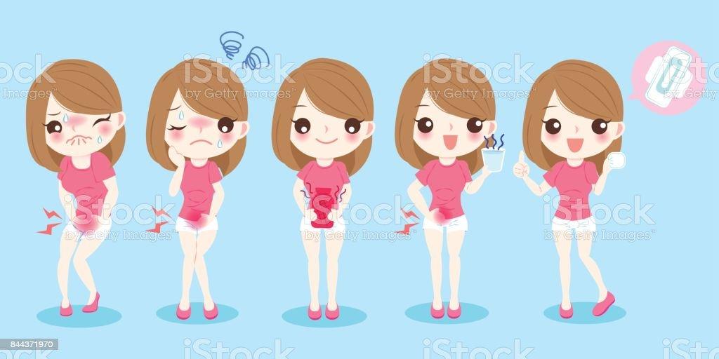 cartoon woman with menstruation vector art illustration