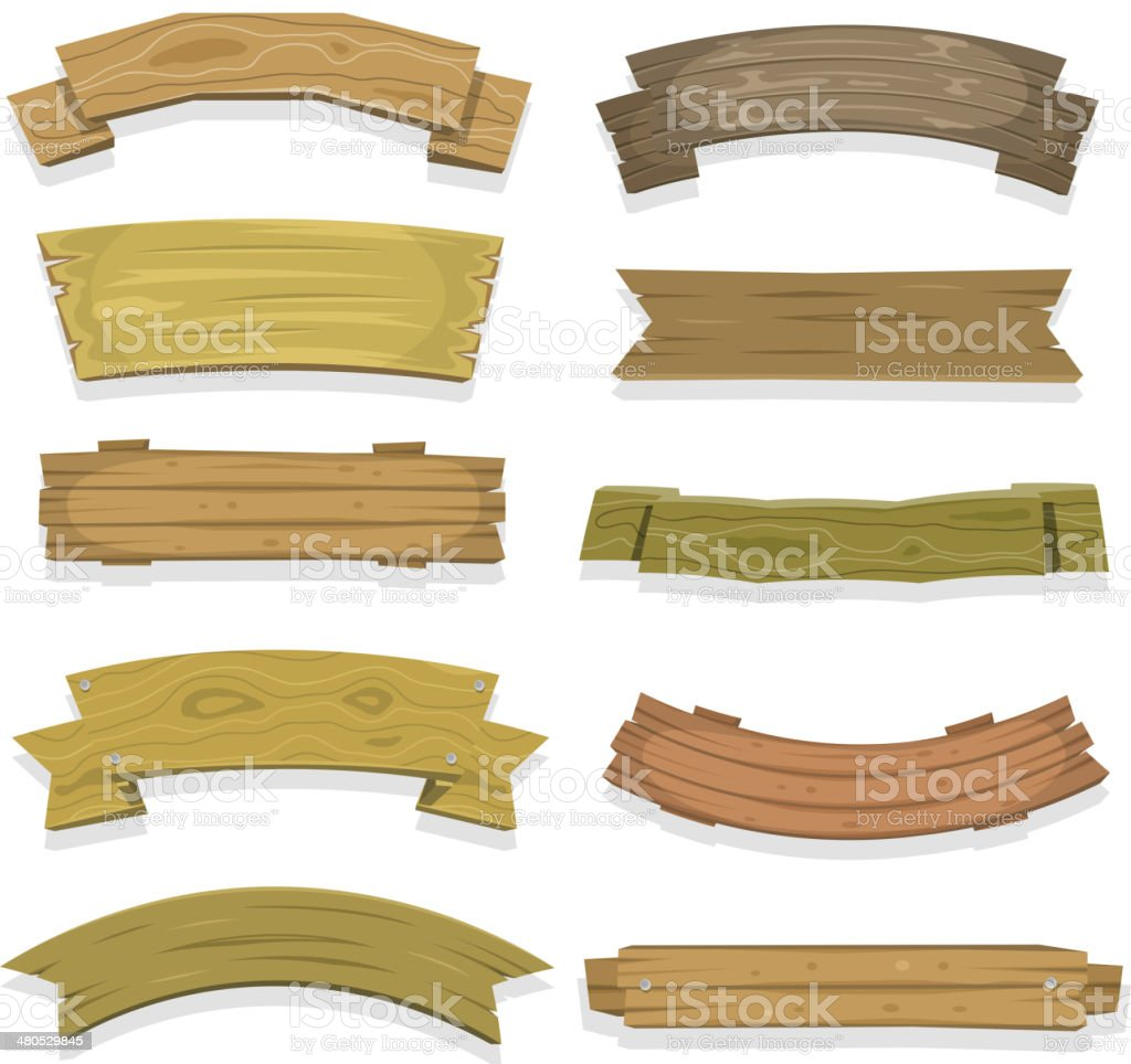 Cartoon Wood Banners And Ribbons vector art illustration