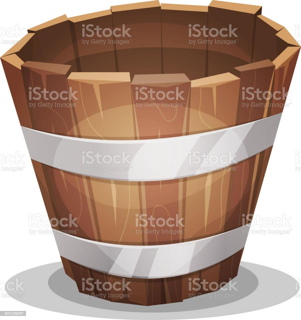 Cartoon Wood Bucket vector art illustration