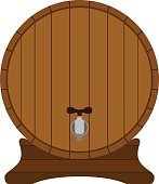 Cartoon wooden barrel in flat style. Container, tank  for rum