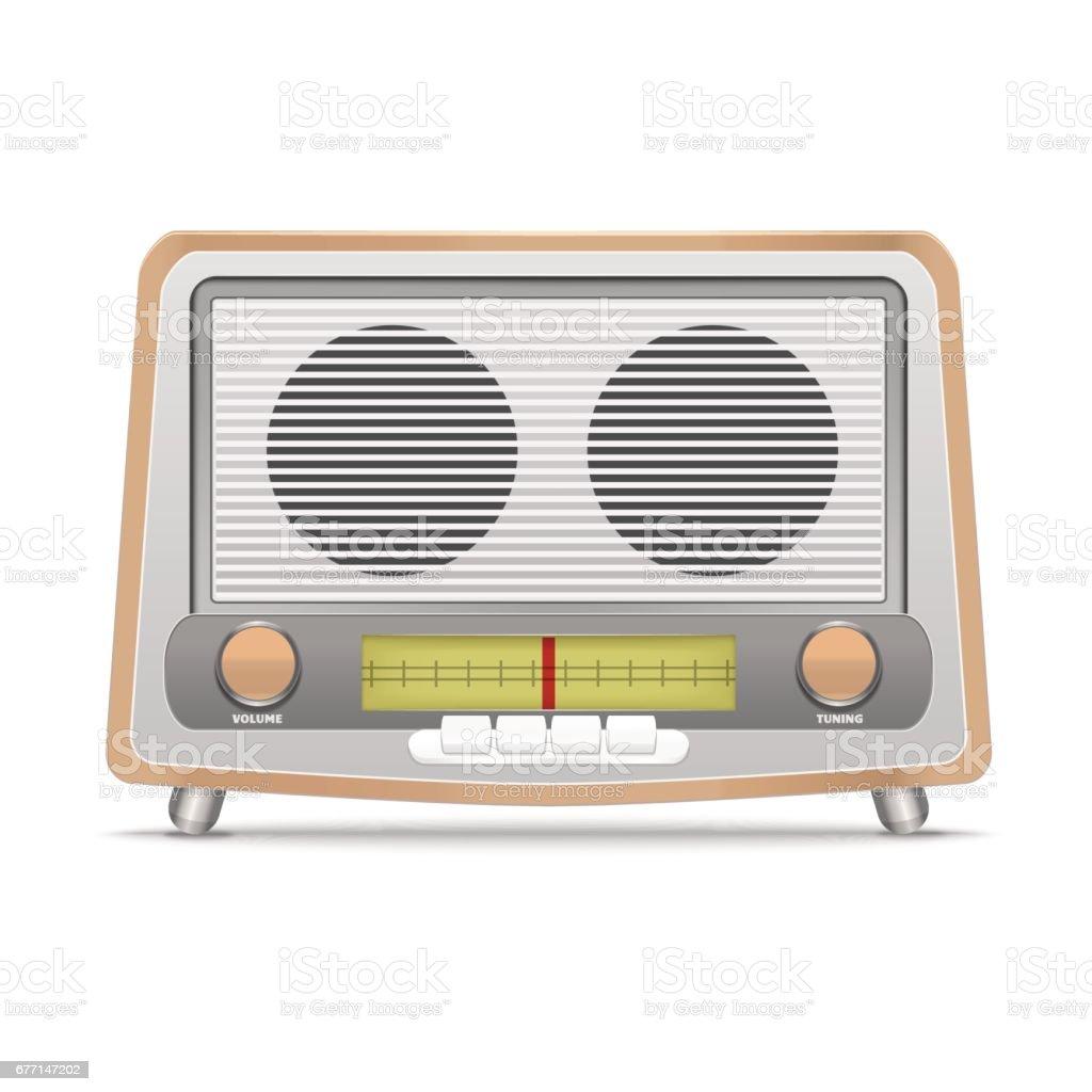 Cartoon Wooden Retro Radio. Vector vector art illustration