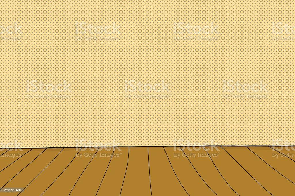 Cartoon Wooden Stage vector art illustration