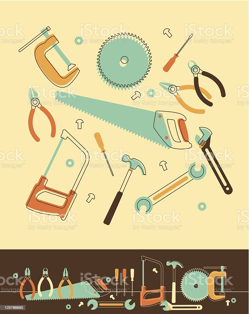 Cartoon work tools on a yellow background royalty-free stock vector art