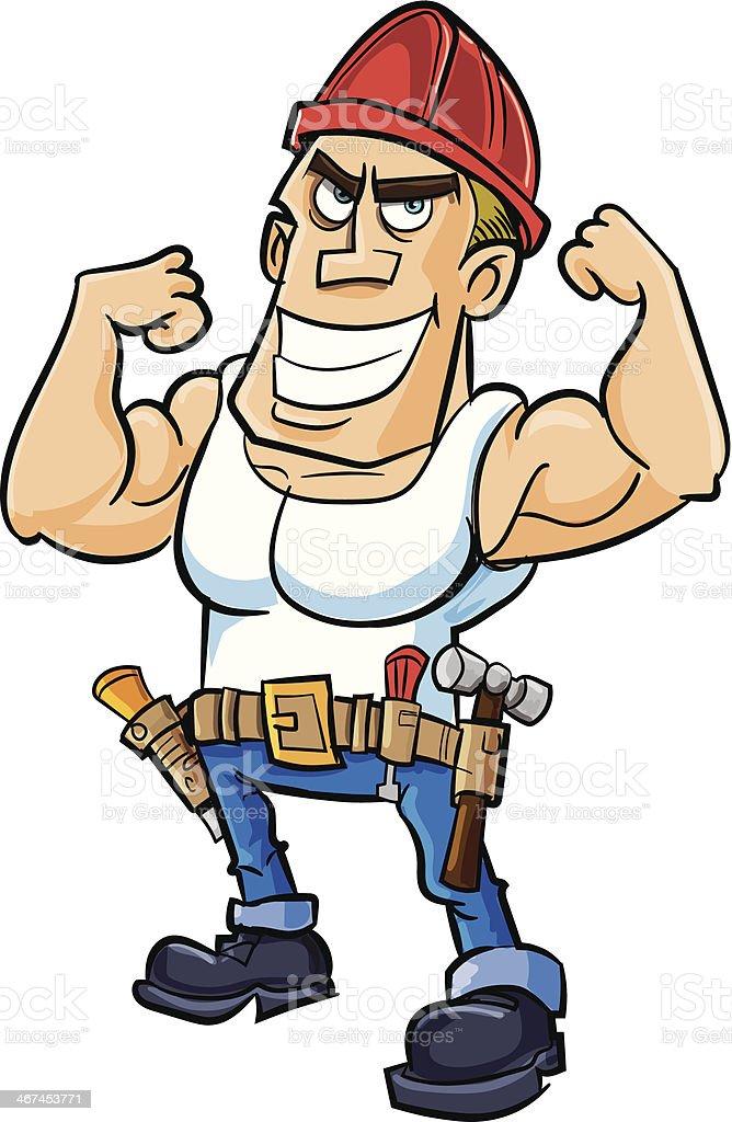 Bauarbeiter bei der arbeit comic  Comic Arbeiter Wodurch Seine Muskeln Vektor Illustration 467453771 ...