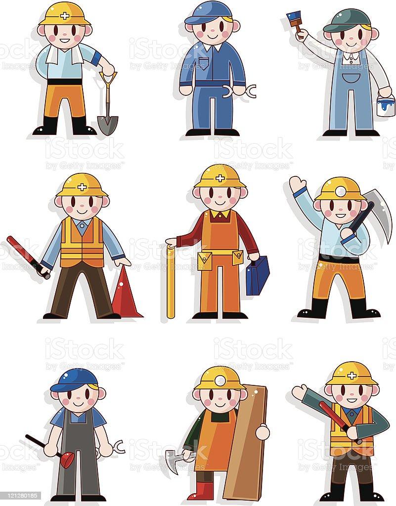 Bauarbeiter bei der arbeit comic  Comic Arbeitericonset Vektor Illustration 121280185 | iStock