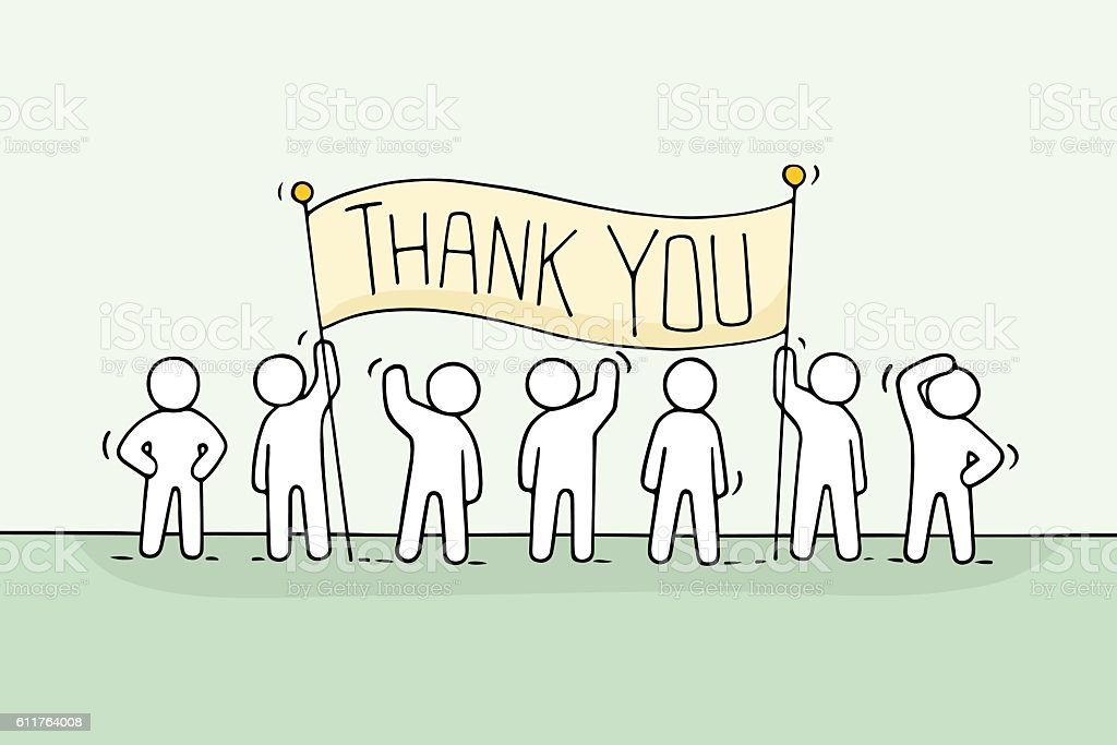 Cartoon working little people with phrase Thank you. vector art illustration