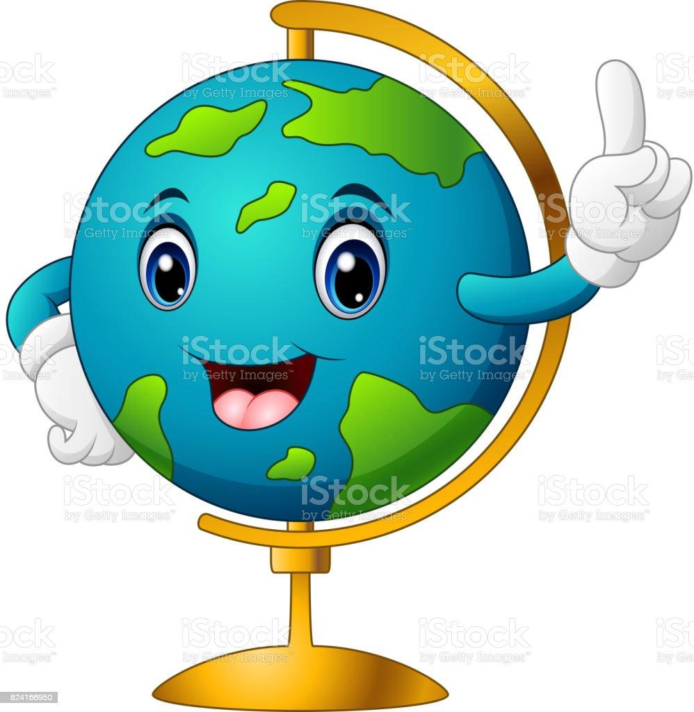 Cartoon world globe pointing vector art illustration