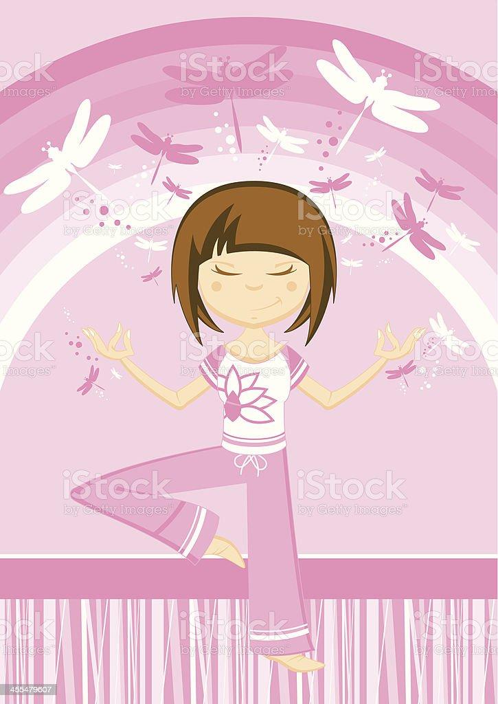 Cartoon Yoga Girl & Dragonflies royalty-free stock vector art
