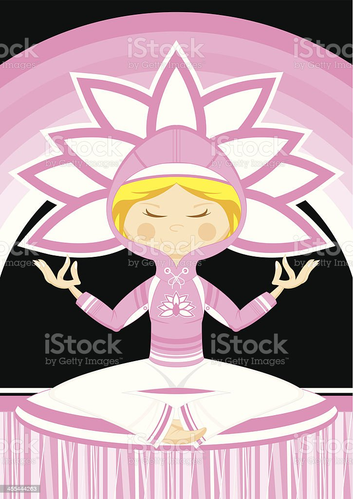 Cartoon Yoga Girl in Hooded Top royalty-free stock vector art