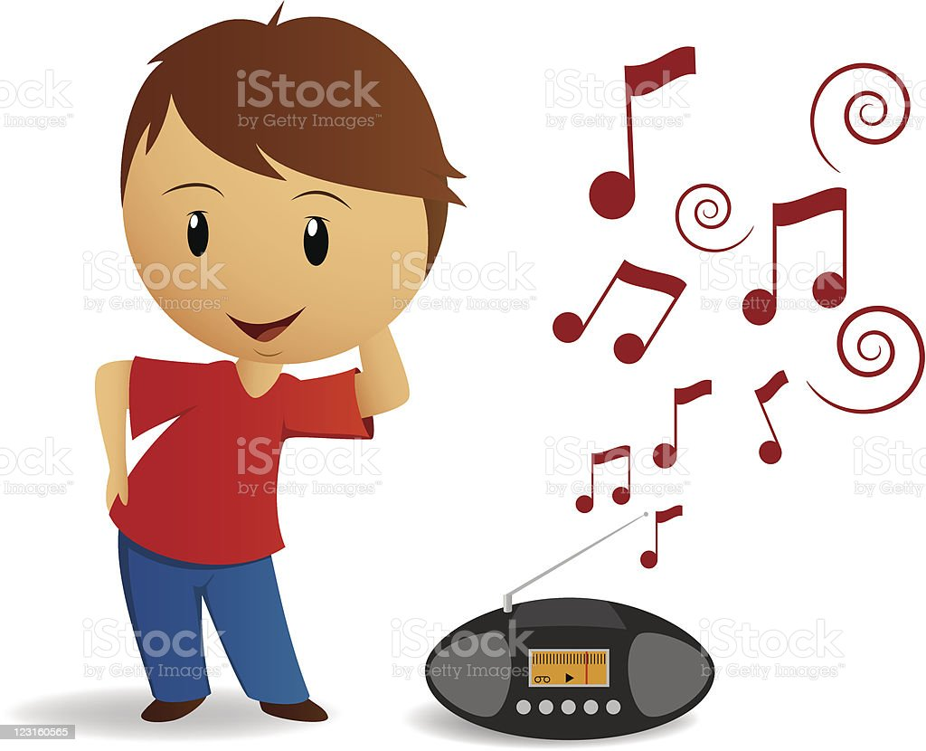 Cartoon young boy dance with radio recorder royalty-free stock vector art