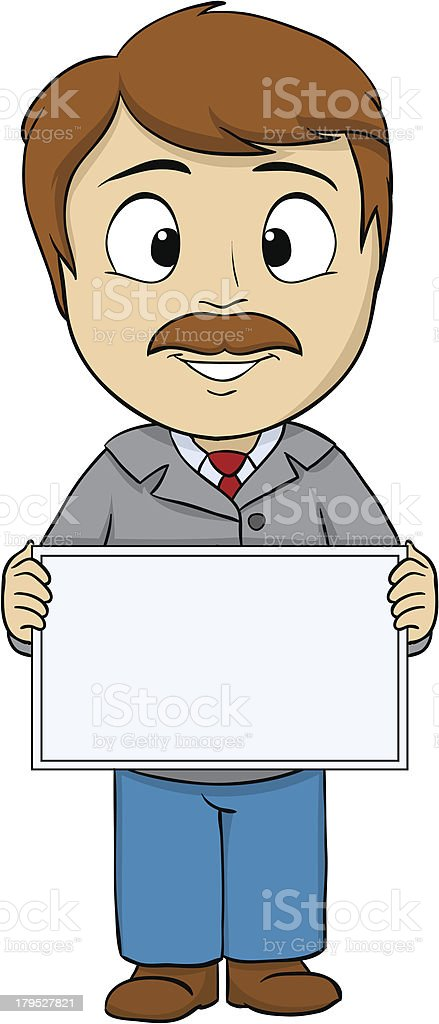 Cartoon young man with empty board royalty-free stock vector art