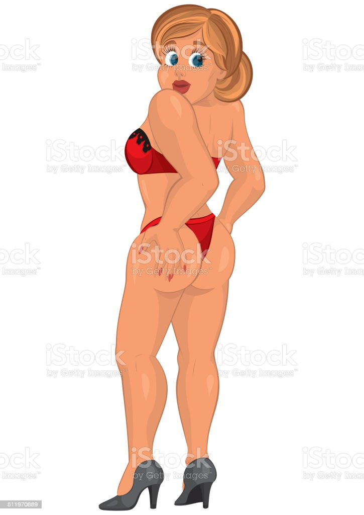 Cartoon young sexy woman in red underwear back view vector art illustration