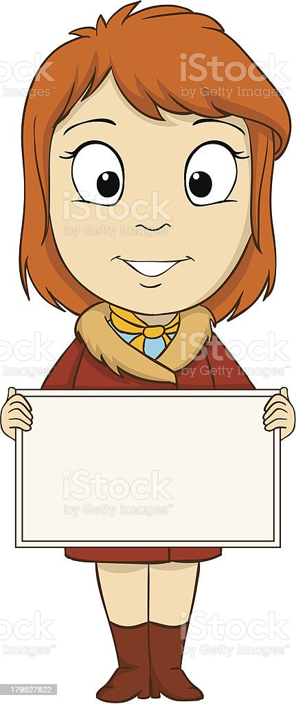 Cartoon young woman with empty board royalty-free stock vector art