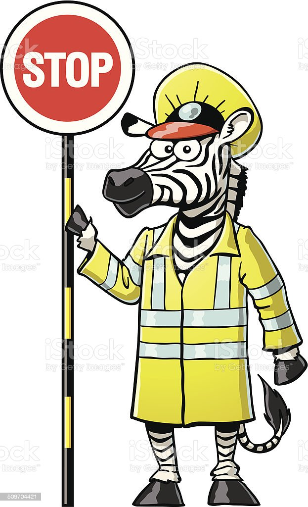 Cartoon Zebra Crossing Guard vector art illustration