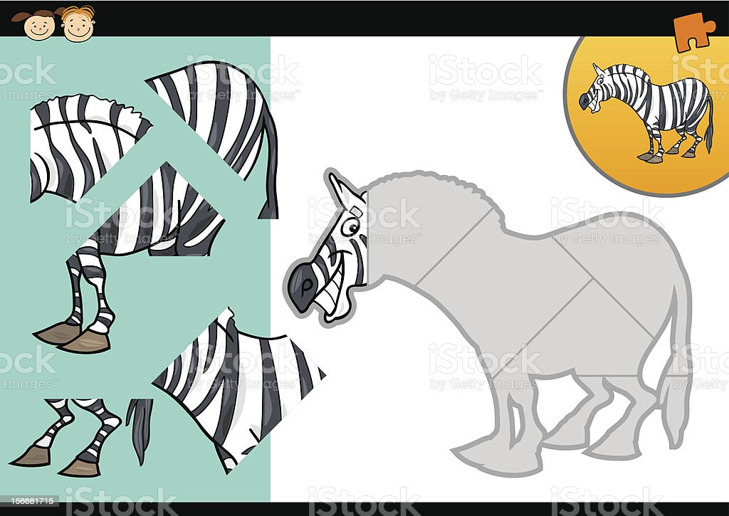 Cartoon zebra puzzle game royalty-free stock vector art