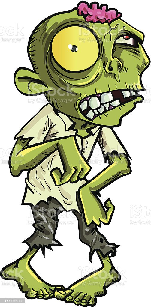 Cartoon zombie with a big yellow eye. Isolated on white vector art illustration