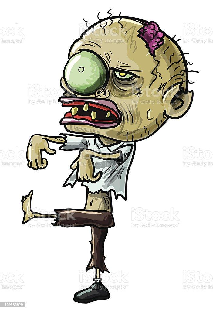Cartoon zombie with a grotesque eye royalty-free stock vector art