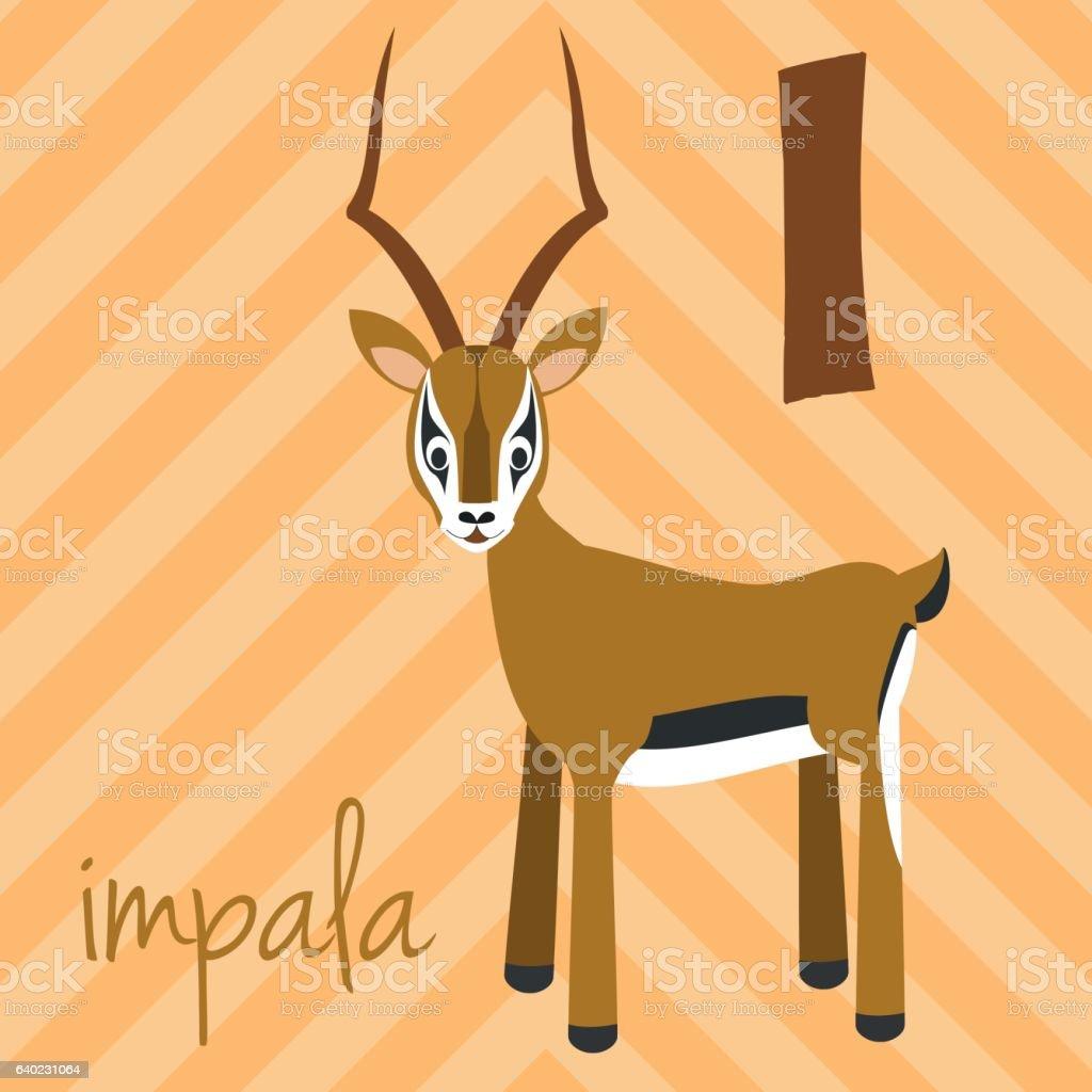 Cartoon zoo alphabet with animals. Spanish name: I for Impala vector art illustration
