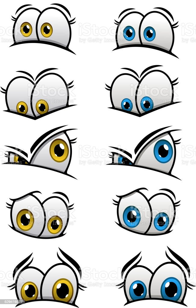 Cartooned eyes with different emotions vector art illustration