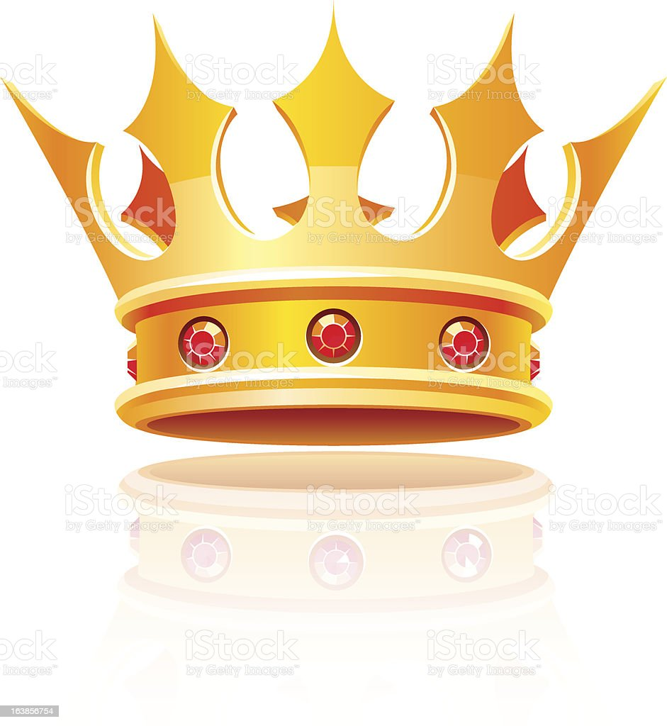Cartoonish gold royal crown with red rubies royalty-free stock vector art