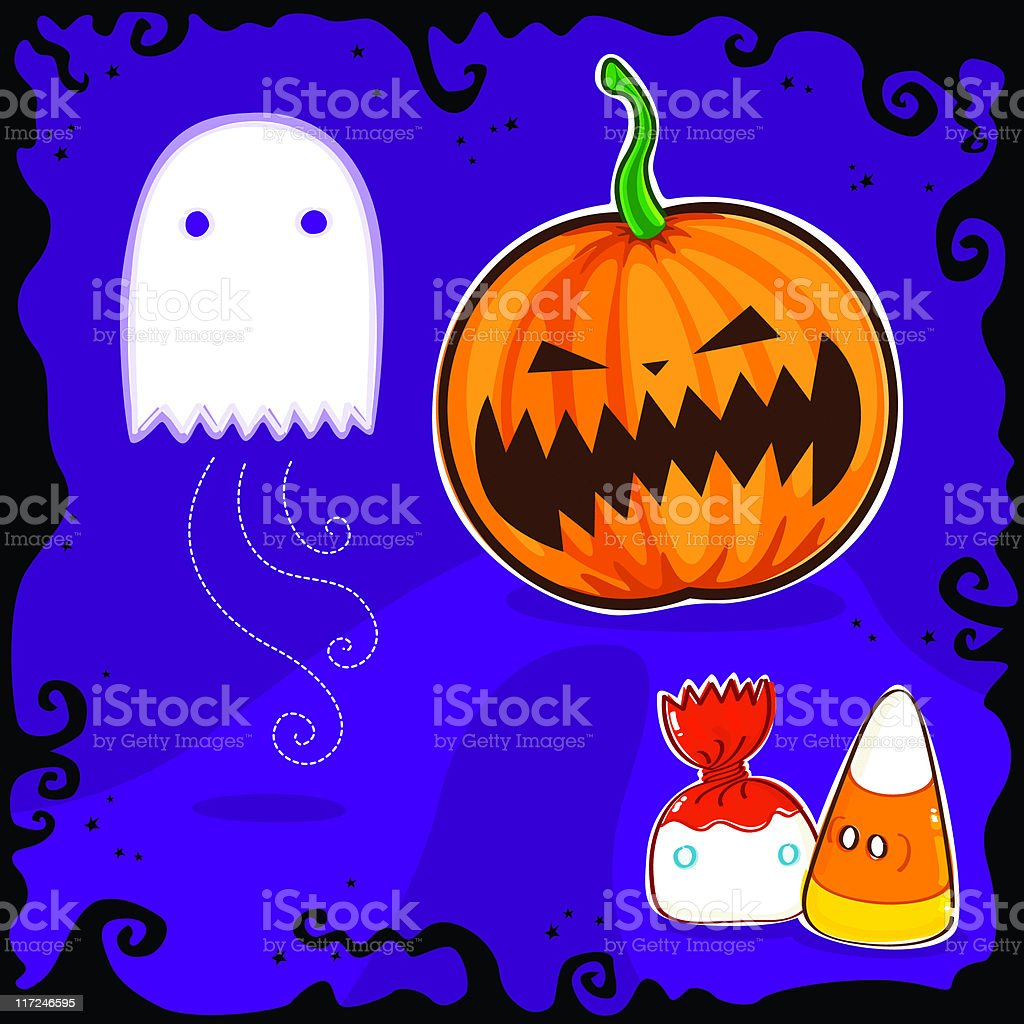 Cartoonish illustration of ghost and pumpkin royalty-free stock vector art
