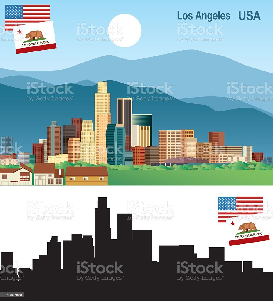 Cartoonish Los Angeles, CA skyline in color and black/white vector art illustration