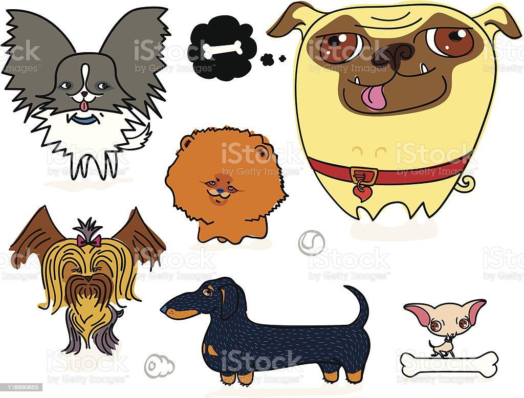 Cartoonish Toy Dogs vector art illustration