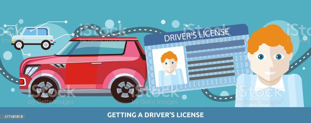Cartoons Man with Driver License vector art illustration