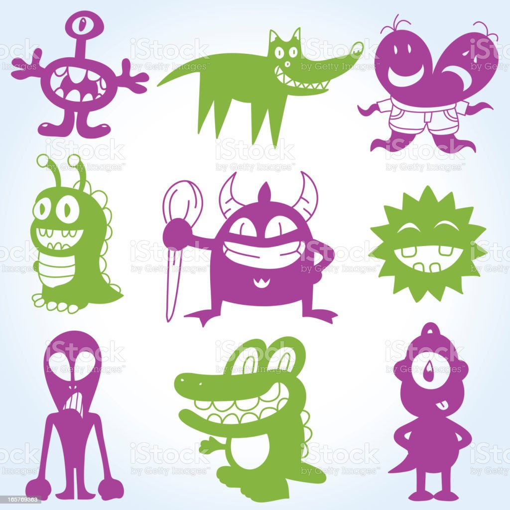 Cartoons Monsters Silhouettes Set royalty-free stock vector art