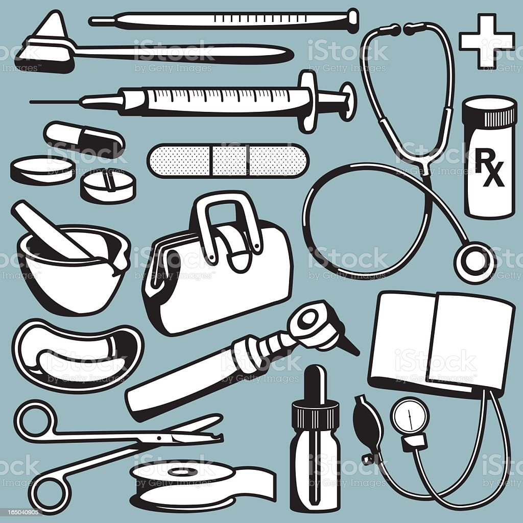 Cartoons of beige iconic medical tools on a green background royalty-free stock vector art