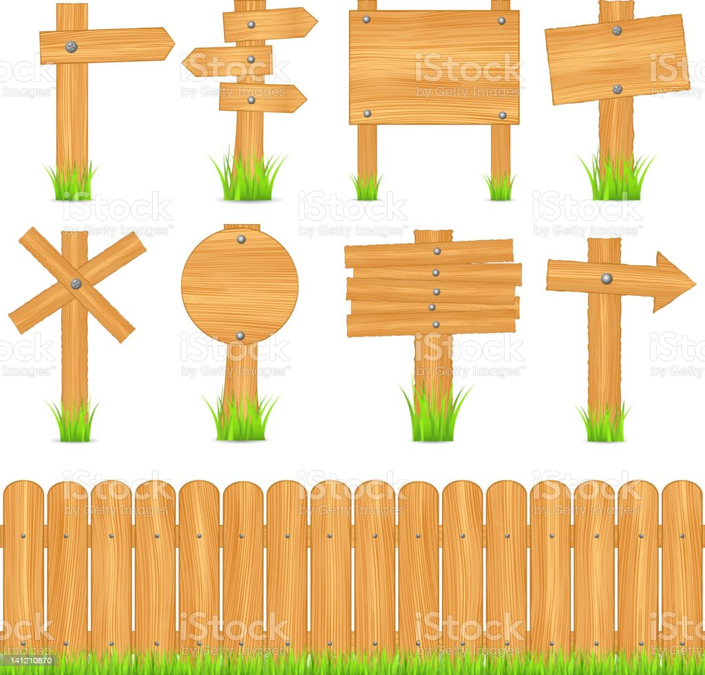 Cartoons of different shaped wooden signs above wooden fence royalty-free stock vector art