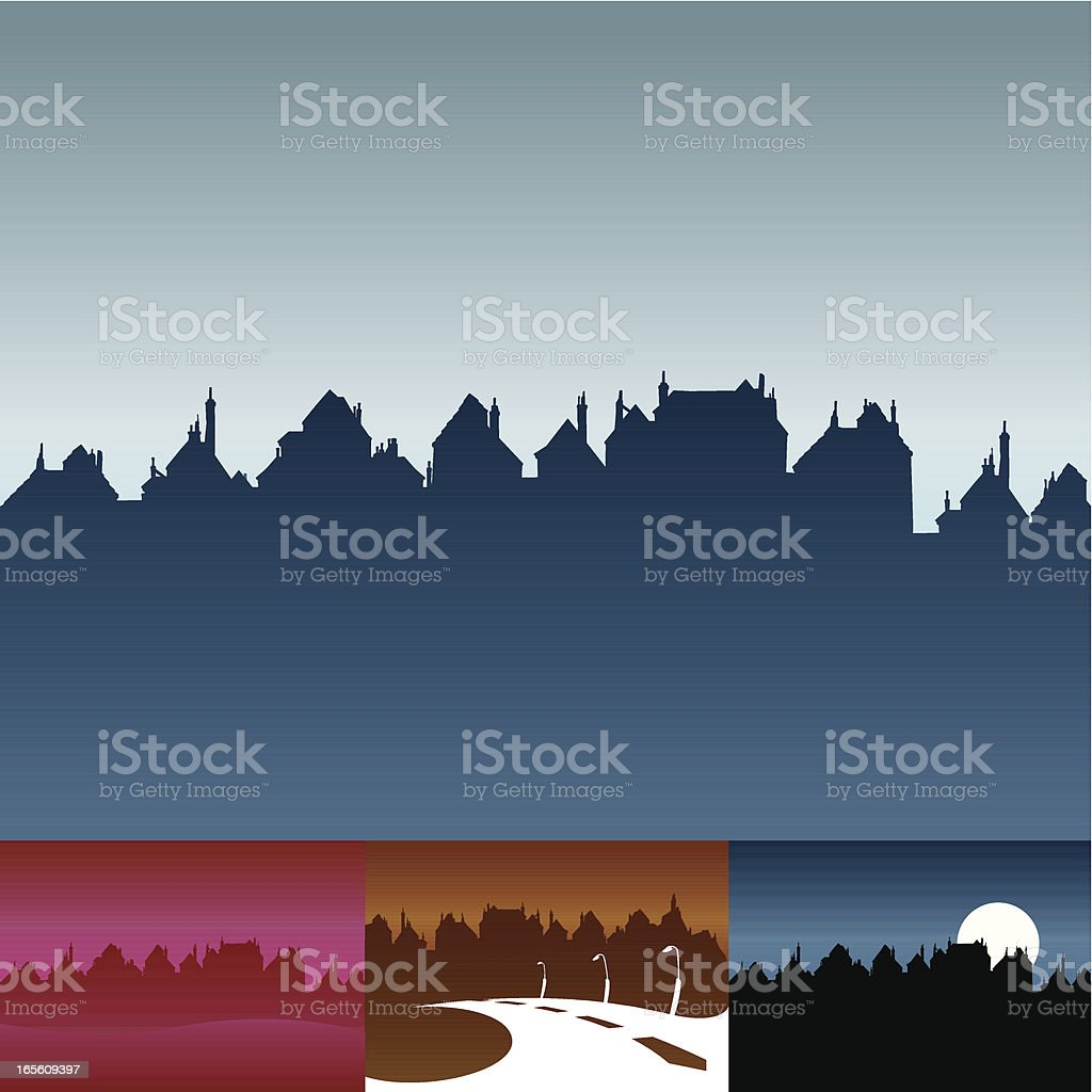 Cartoon-styled skyline royalty-free stock vector art