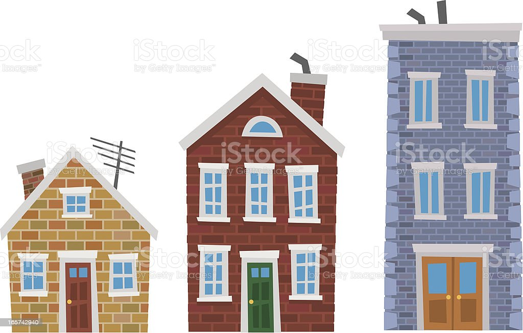 Cartoony Brick Houses royalty-free stock vector art