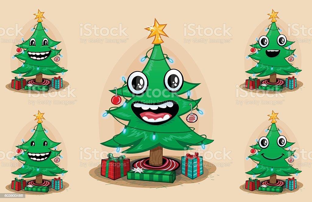 Cartoony Face Christmas Tree royalty-free stock vector art