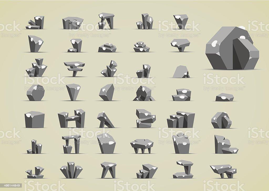 Cartoony stones with snow vector art illustration