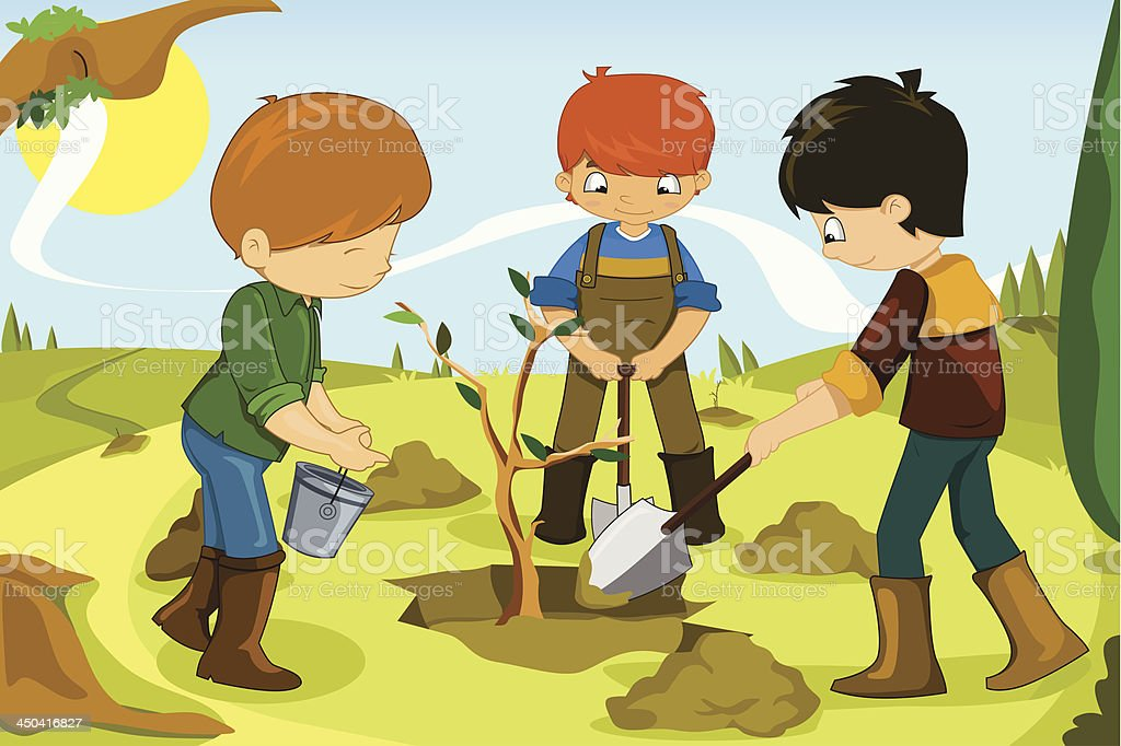 Cartton of volunteer kids planting a tree vector art illustration