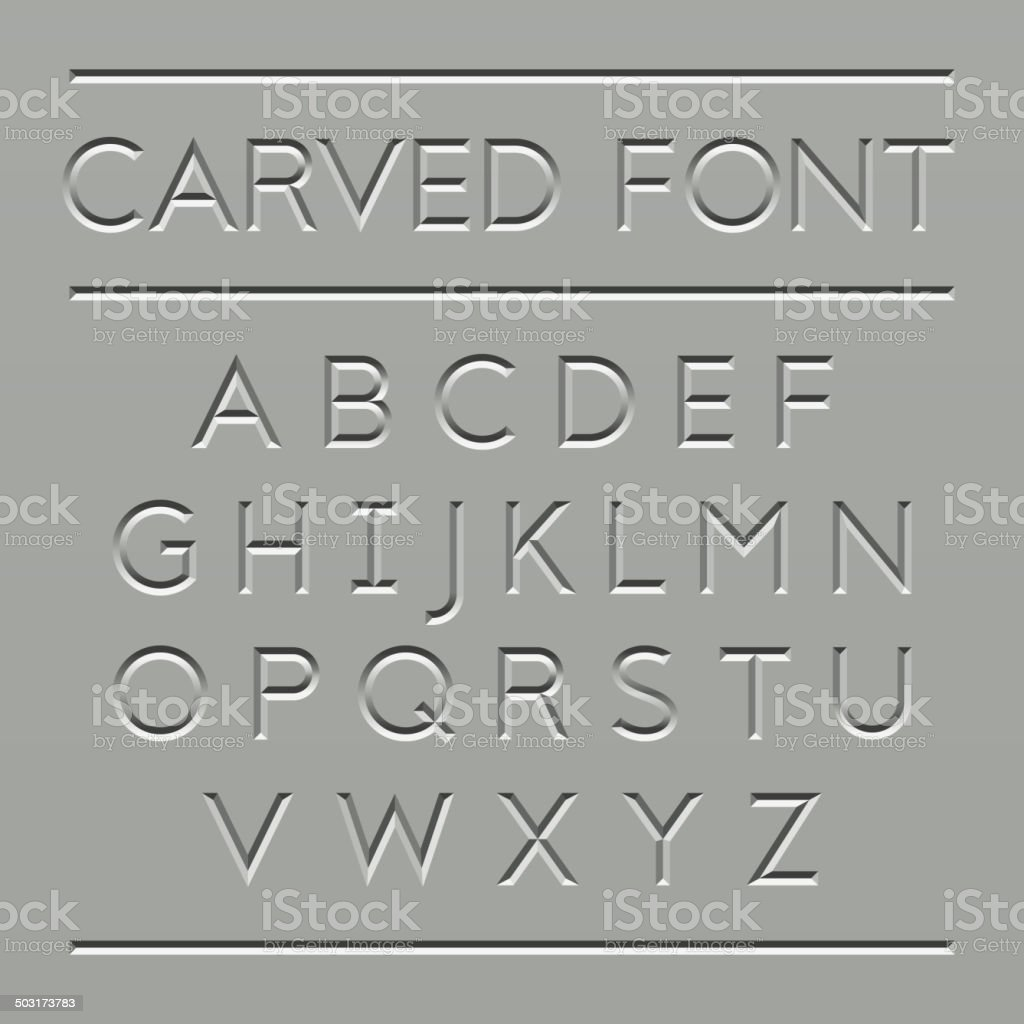 Carved font design vector art illustration