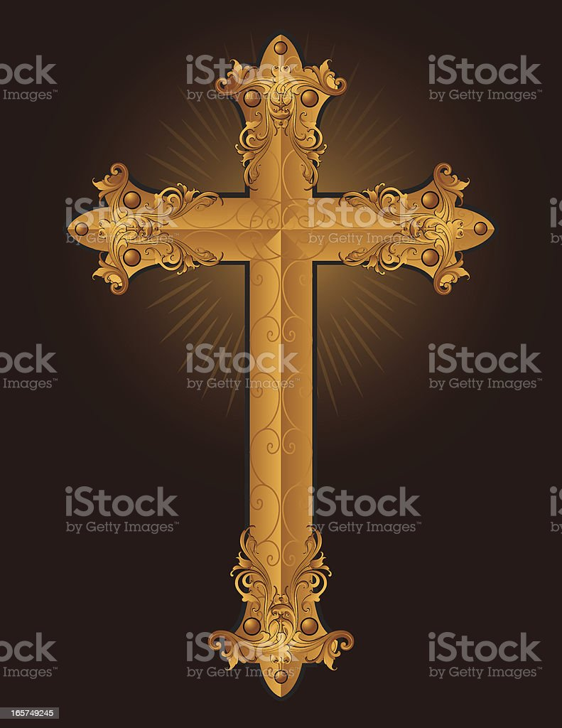 Carved Gold Cross royalty-free stock vector art