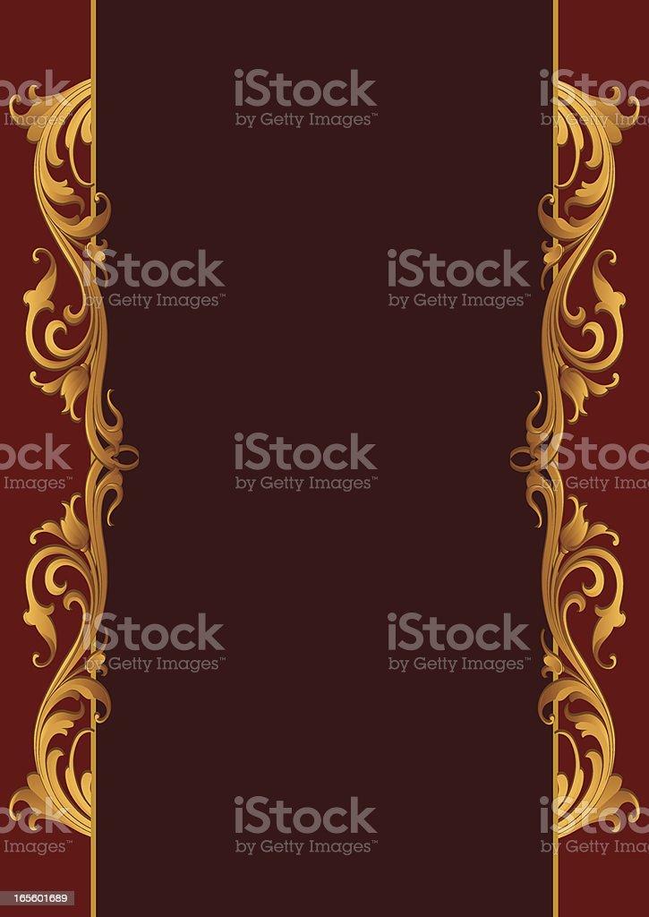 Carved Gold Side Scrolls vector art illustration